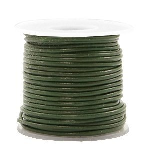 Groen Rond leer Army green metallic 1mm - per meter