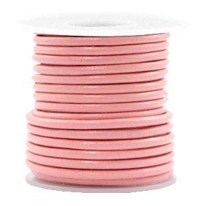 Roze Rond leer Blossom pink metallic 3mm - per meter
