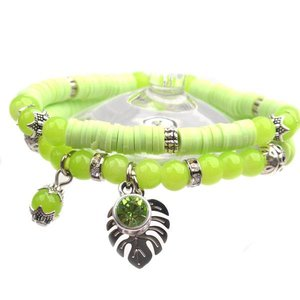 Groen DIY pakketje Spring discs Light Green - 2 armbanden