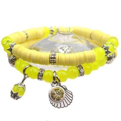 Geel DIY pakketje Spring discs Light Yellow - 2 armbanden