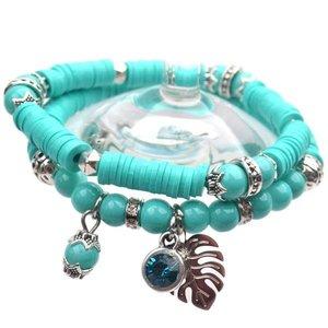 Blauw DIY pakketje Summer discs Aqua - 2 armbanden