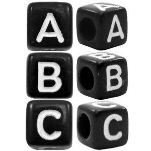 Zilver Letterkralen vierkant Ø3,6mm letters A - Z Zwart 6mm -26 stuks