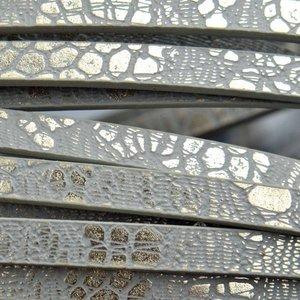 Grijs Imitatie leer strook Grijs metallic plated 5x2mm - 120cm