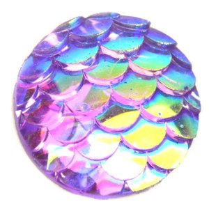 Paars Mermaid arcyl cabochon Paars AB 12mm