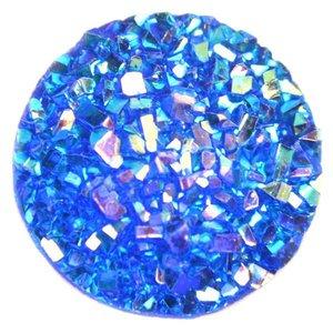 Blauw Druzy acryl cabochon Blauw AB 12mm
