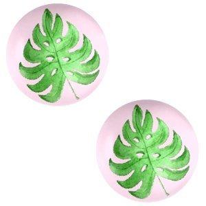 Roze Glas cabochons Tropical leaf-palace rose print 12mm