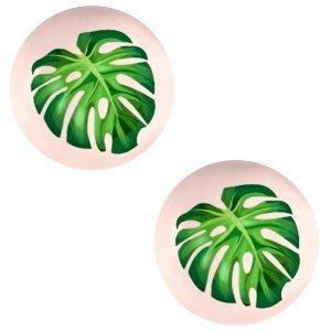 Oranje Glas cabochons Tropical palm leaf-creamy peach print 12mm