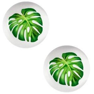 Grijs Glas cabochons Tropical palm leaf-light grey print 12mm