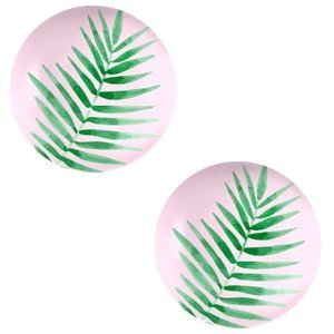 Roze Glas cabochons Fern leaf-palace rose print 12mm