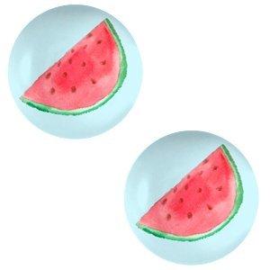 Blauw Glas cabochons Watermelon-sky blue print 12mm