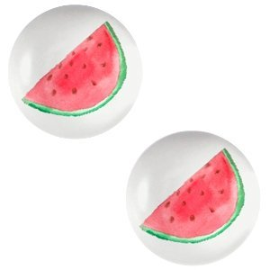 Grijs Glas cabochons Watermelon-light grey print 12mm