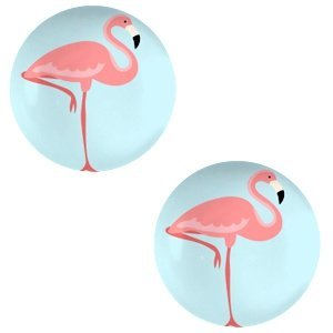 Blauw Glas cabochons Flamingo-sky blue print 12mm