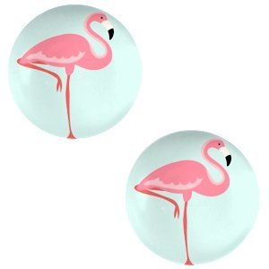 Blauw Glas cabochons Flamingo-light turquoise blue print 12mm