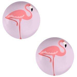 Paars Glas cabochons Flamingo-lilac purple print 12mm