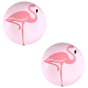 Roze Glas cabochons Flamingo-pink print 12mm