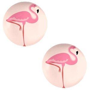 Oranje Glas cabochons Flamingo-coral peach print 12mm