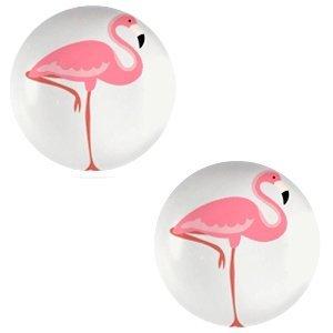 Grijs Glas cabochons Flamingo-light grey print 12mm