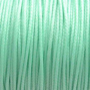 Groen Waxkoord shiny minty green 1mm - 8 meter