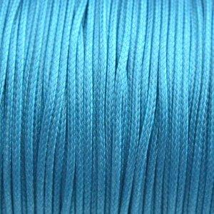 Blauw Waxkoord shiny aqua blue 1mm - 8 meter