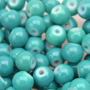 Turquoise Glaskralen rond shine dark turquoise 6mm - 50 stuks