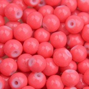 Roze Glaskralen rond shine coral pink 6mm - 50 stuks