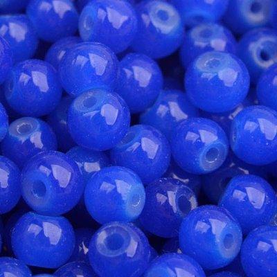 Blauw Glaskralen rond opaal Hollands blauw 6mm - 50 stuks