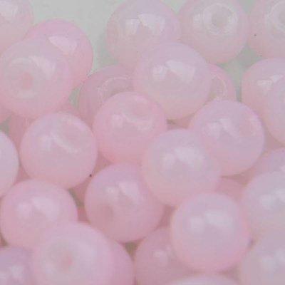 Roze Glaskraal licht roze opaal 6mm - 50 stuks