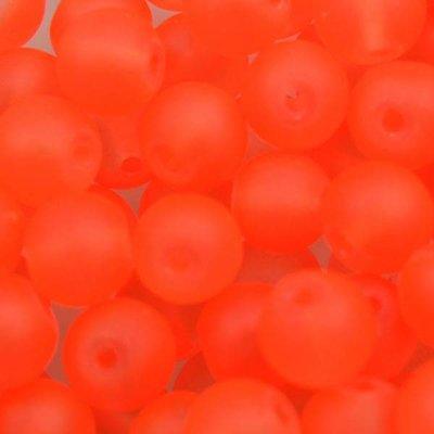 Oranje Glaskralen rond mat fel oranje 6mm - 50 stuks