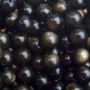 Zwart Edelsteen Gold sheen Obsidiaan rond 8mm
