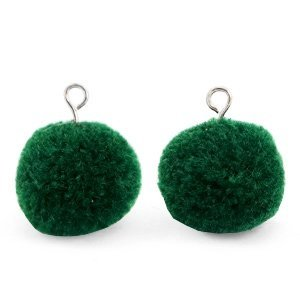 Groen Pompom bedels Dark green-silver 15mm