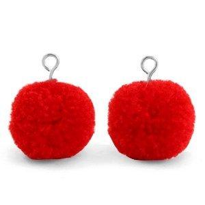 Rood Pompom bedels Scarlet red-silver 15mm