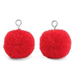 Rood Pompom bedels Dark coral red-silver 15mm