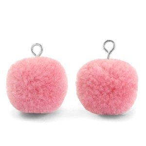 Roze Pompom bedels Rouge pink-silver 15mm