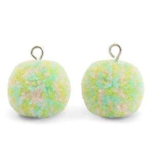 Groen Pompom bedels  Mix pastel green-silver 15mm