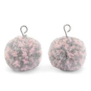 Grijs Pompom bedels Mix pink grey-silver 15mm