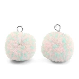 Roze Pompom bedels Mix turquoise light pink-silver 15mm