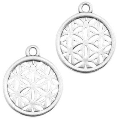 Zilver Bedel munt bloem patroon Zilver DQ 24x23mm