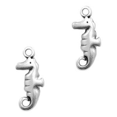 Zilver Bedel metaal zeepaardje Zilver DQ 17x7mm