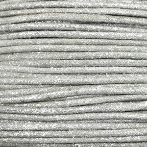 Grijs Waxkoord metallic Steel grey 1mm - 10 meter