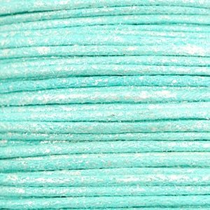 Turquoise Waxkoord metallic Turquoise blue 1mm - 10 meter