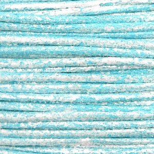 Blauw Waxkoord metallic Pacific blue 1mm - 10 meter