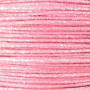 Roze Waxkoord metallic Light pink 0,5mm - 10 meter