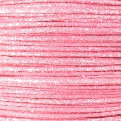 Roze Waxkoord metallic Light pink 0,5mm - 10 meter