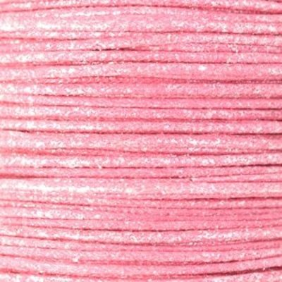 Roze Waxkoord metallic Light pink 1mm - 10 meter