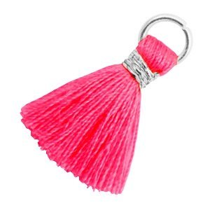 Roze Ibiza kwastje Zilver-Neon pink 18mm