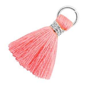 Roze Ibiza kwastje Zilver-Neon coral pink 18mm