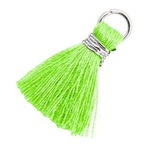 Groen Ibiza kwastje Zilver-Bright neon green 18mm