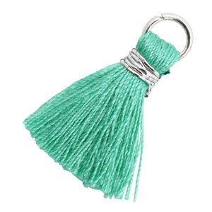 Turquoise Ibiza kwastje Zilver-Mint leaf green 18mm
