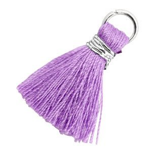 Paars Ibiza kwastje Zilver-Deep lavender purple 18mm