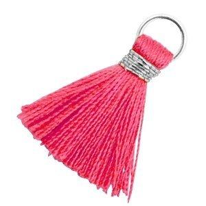 Roze Ibiza kwastje Zilver-Raspberry sorbet pink 18mm